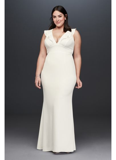 Plunging V Ruffle Strap Plus Size Crepe Gown - Dare to be different in this sleek and