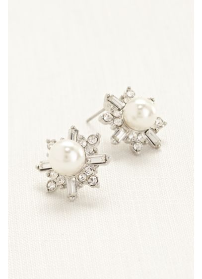 Pearl and Crystal Starburst Earrings - Wedding Accessories