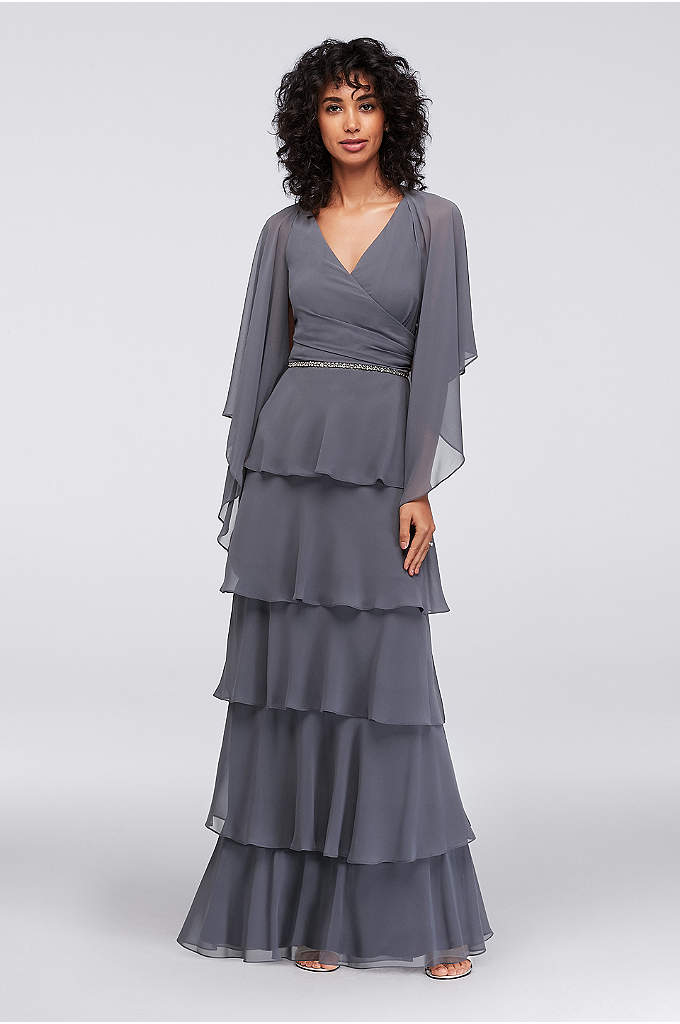 Long Tiered Chiffon Dress with Capelet - This party-perfect chiffon gown dress is fun, fluttery,