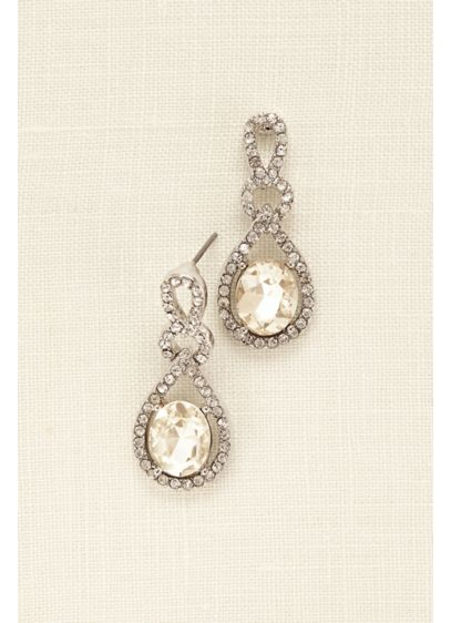 Crystal and Pave Teardrop Earrings - Wedding Accessories