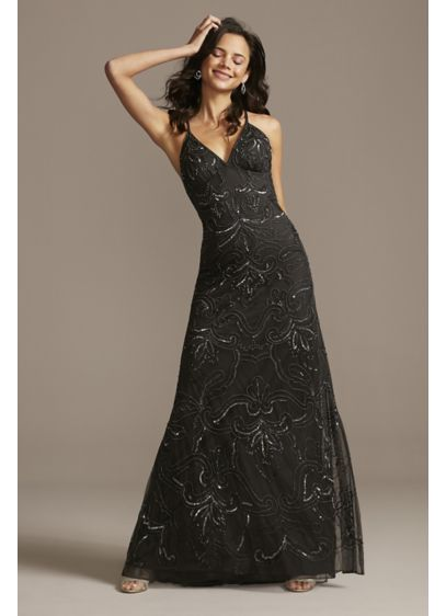 Embellished Overlay Crossed Spaghetti Strap Dress - A chiffon overlay adorned with swirls and scrolls