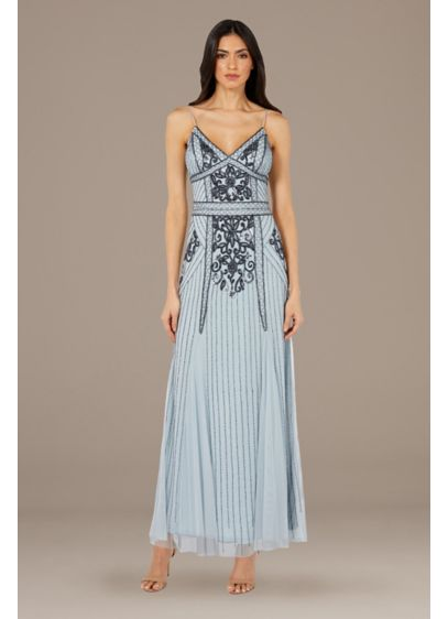 Bead-Embellished Mesh Overlay Spaghetti Strap Gown - Elegant and timeless, this sophisticated spaghetti-strap sheath gown