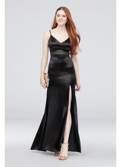 Hammered Satin Sheath Dress with Slit Skirt - Sleek and sophisticated, a mesh panel with belting