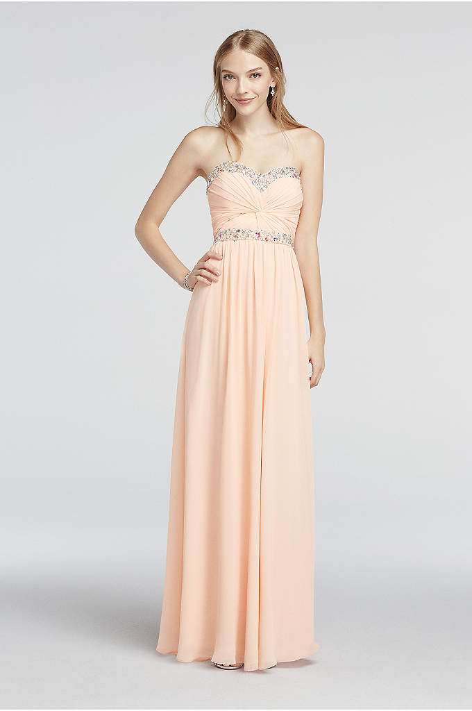 Strapless Chiffon Beaded Floor Length Prom Dress