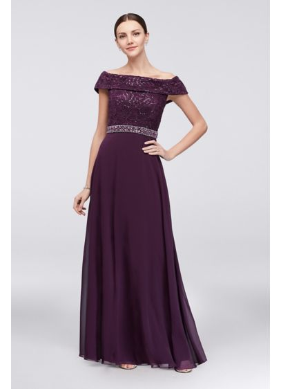 Long A-Line Off the Shoulder Cocktail and Party Dress - Emma Street