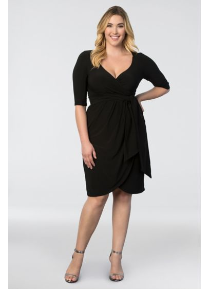 Short Sheath 3/4 Sleeves Graduation Dress - Kiyonna