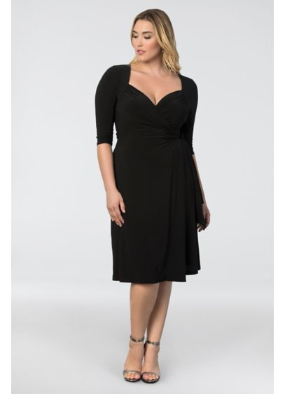 b2877d4f1c9 Sweetheart Knit Plus Size Wrap Dress. 11112202. Short A-Line 3/4 Sleeves  Cocktail and Party Dress - Kiyonna