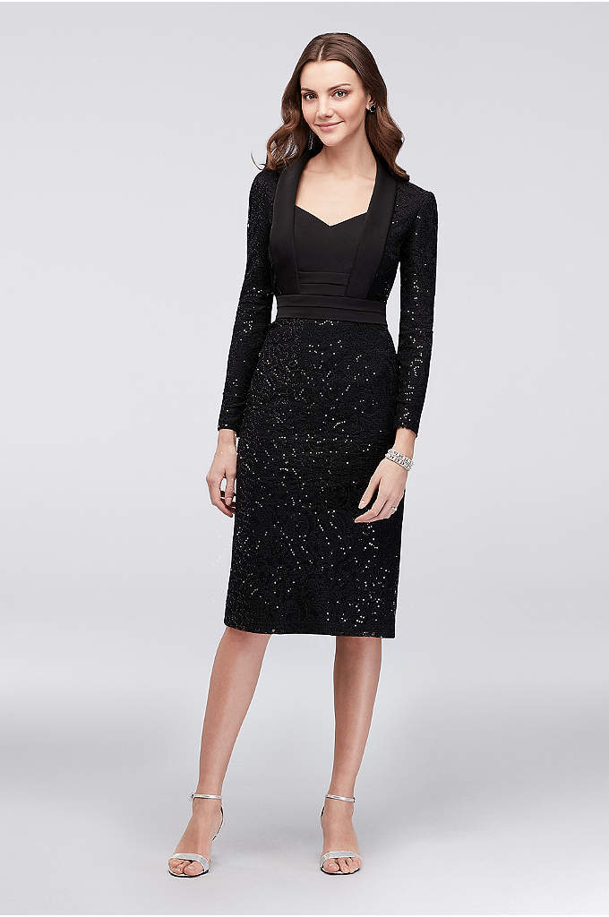 Long-Sleeve Lace V-Neck Dress with Tuxedo Details - The pretty lace sheath dress gets a menswear-inspired