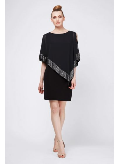 Short Sheath Capelet Cocktail and Party Dress - SLNY