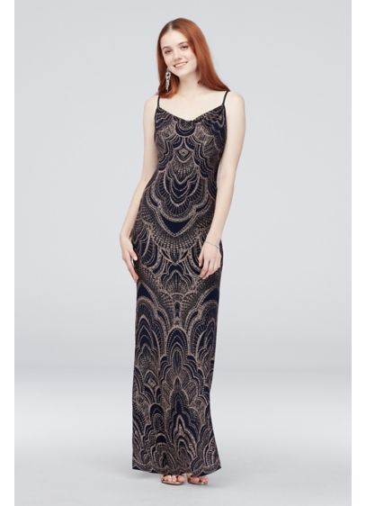 Glitter Print Slinky Slip Gown - Topped with a glitter motif, this long, strappy,