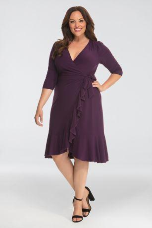 Short A-Line 3/4 Sleeves Dress - Kiyonna