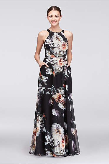 Printed Round-Neck Chiffon Gown with Beaded Waist
