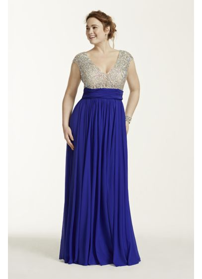 search for clearance super cheap top-rated latest Crystal Beaded Cap Sleeve Bodice Prom Dress