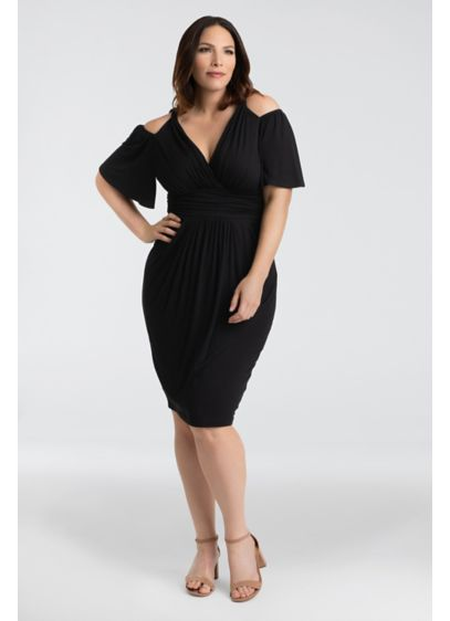 Tea Length Off the Shoulder Cocktail and Party Dress - Kiyonna