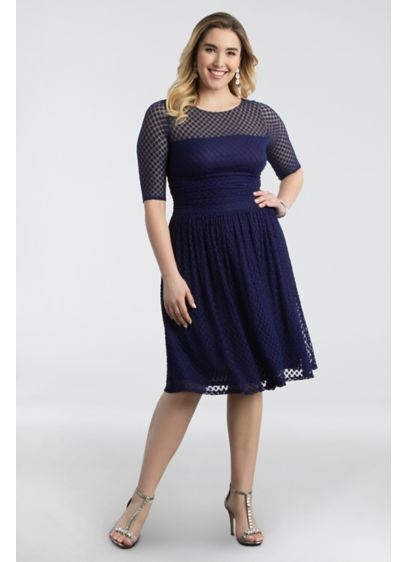 Alexa Retro Dot Plus Size Dress | David\'s Bridal