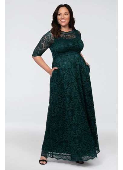 Leona Lace A-Line Plus Size Gown - This vintage-inspired lace A-line gown is simple yet