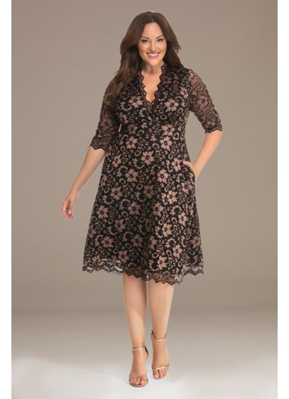 3/4 Illusion Mon Cherie Plus Size Lace Dress - This short plus-size dress features two-toned lace, a
