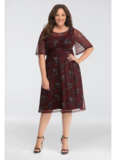 Short A-Line Elbow Sleeves Cocktail and Party Dress - Kiyonna