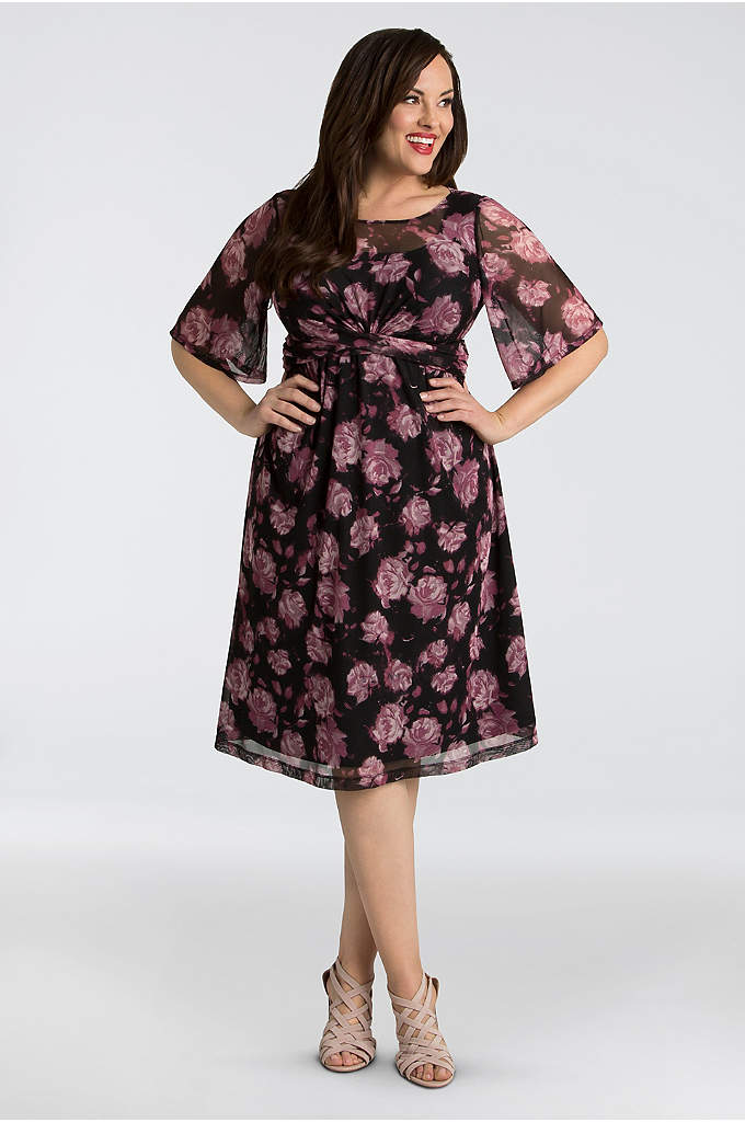Katarina Mesh Plus Size A-Line Dress - This printed stretch mesh plus-size A-line dress is