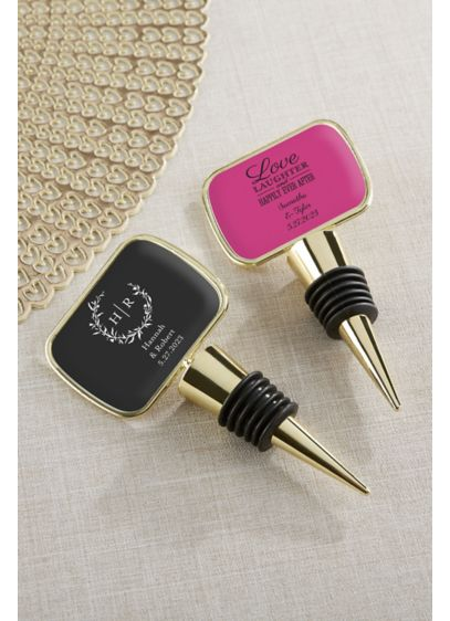 Personalized Gold Bottle Stopper - Wedding Gifts & Decorations