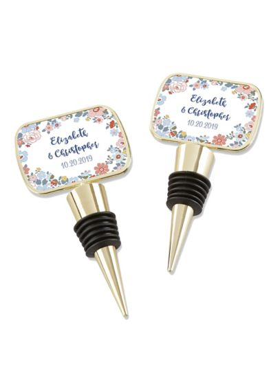 Personalized Floral Pattern Gold Bottle Stopper - A true classic, these Personalized Floral Pattern Gold