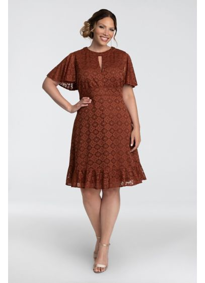 Flutter Sleeve Keyhole Lace Dress with Ruffle - An intricate lace motif, flutter sleeves, and a