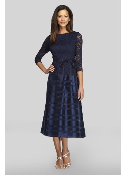 3/4 Sleeve Lace and Taffeta Tea-Length Dress - Topped with a sequin lace bodice and tied