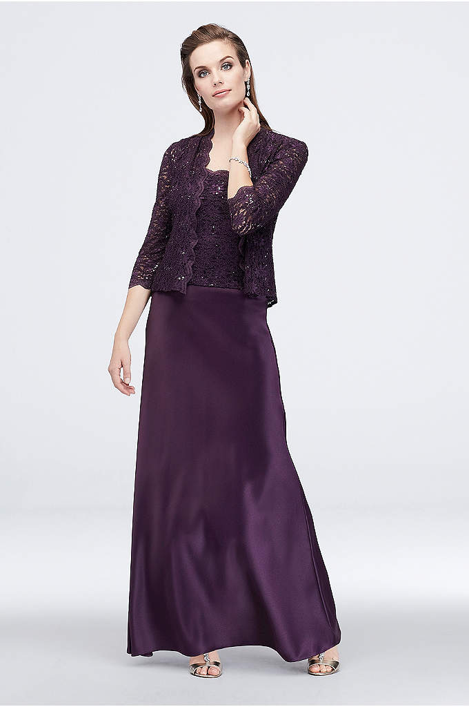 Scalloped Sequin Lace and Satin Jacket Dress - A classically elegant look for the mother of