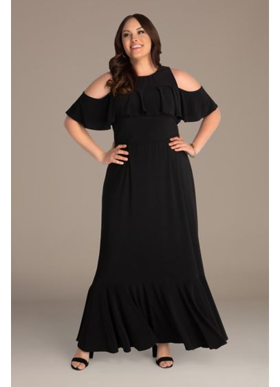 Floor-Length Cold Shoulder Plus Maxi Dress - Sometimes a hint of shoulder is just the