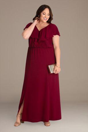 Long A-Line Cap Sleeves Dress - Kiyonna