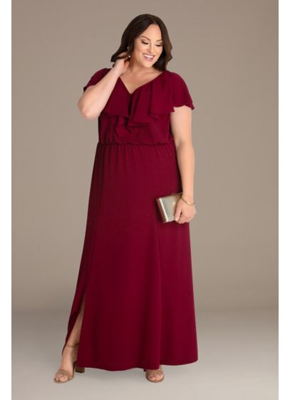 Floor-Length Plus Maxi Dress with Slit - This plus-size A-line maxi dress is comfortable and