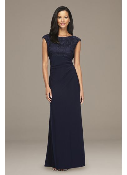 High Neck Drapey Back Cap Sleeve Sheath Dress - A high neckline is beautifully offset by a