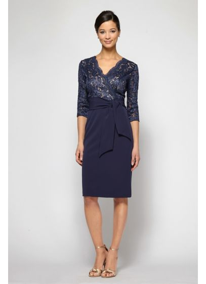 Short Scalloped Surplice 3/4 Sleeve Dress with Tie - This flattering short sheath dress is topped with