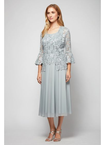 Bell Sleeve Lace And Mesh Tea Length Jacket Dress Davids Bridal