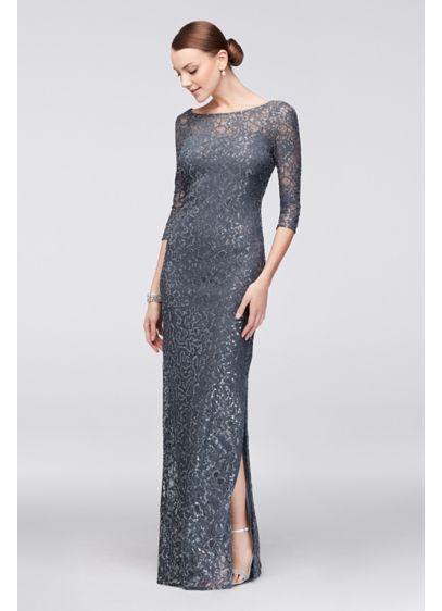 Long Grey Soft & Flowy Alex Evenings Bridesmaid Dress