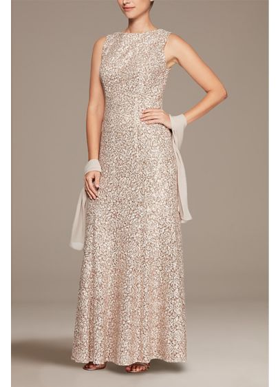 High Neck Sequin Fit and Flare Dress with - Make a statement in something that sparkles! This
