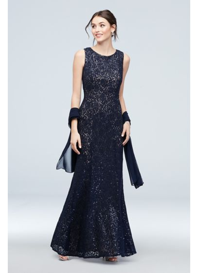 Sequin and Lace High Neck Mermaid Gown with - Choose this sleek lace dress, embroidered with sequins