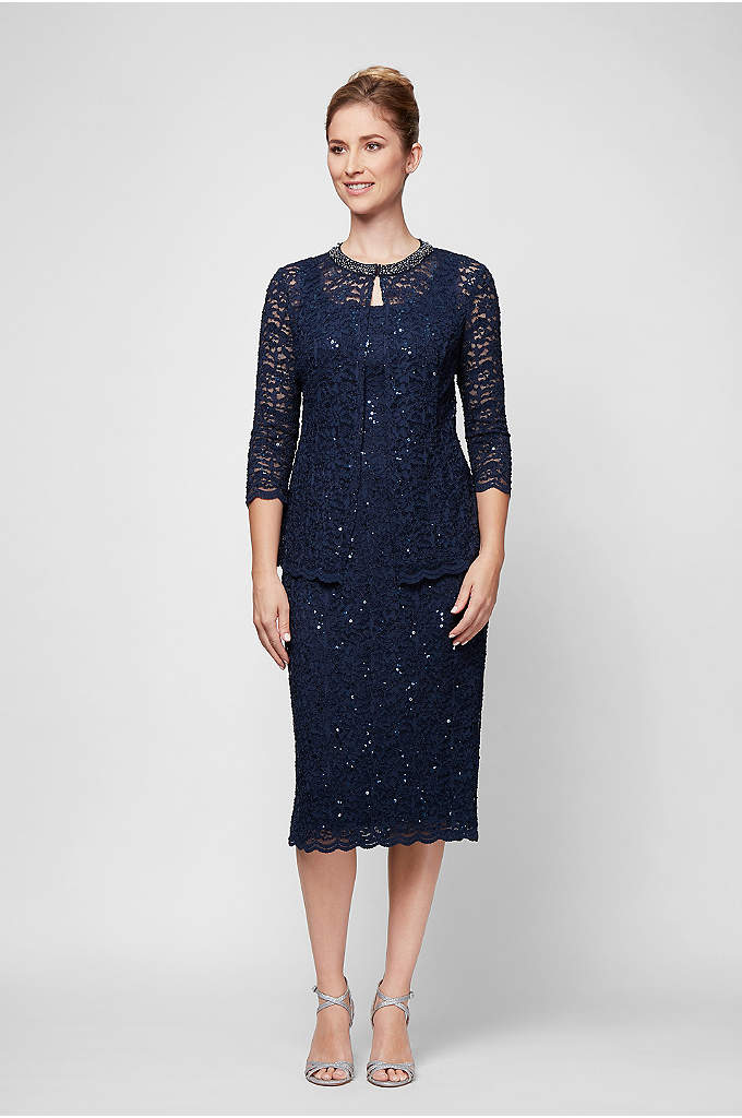 Lace Shift Dress and Jacket with Beaded Neckline - Want to shine at your next event? This