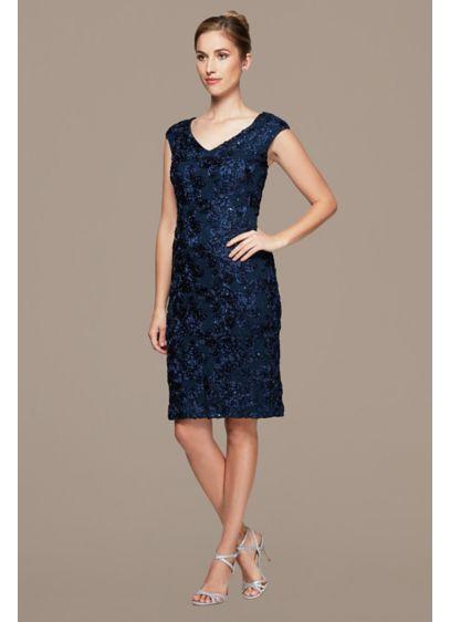 Midi Length V-Neckline Rosette Shift Dress - This timeless midi-length rosette shift dress will always