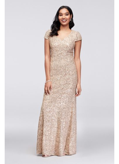 Appliqued Lace Short-Sleeve Long Mermaid Gown - A beautiful mix of textures, this mermaid V-neck