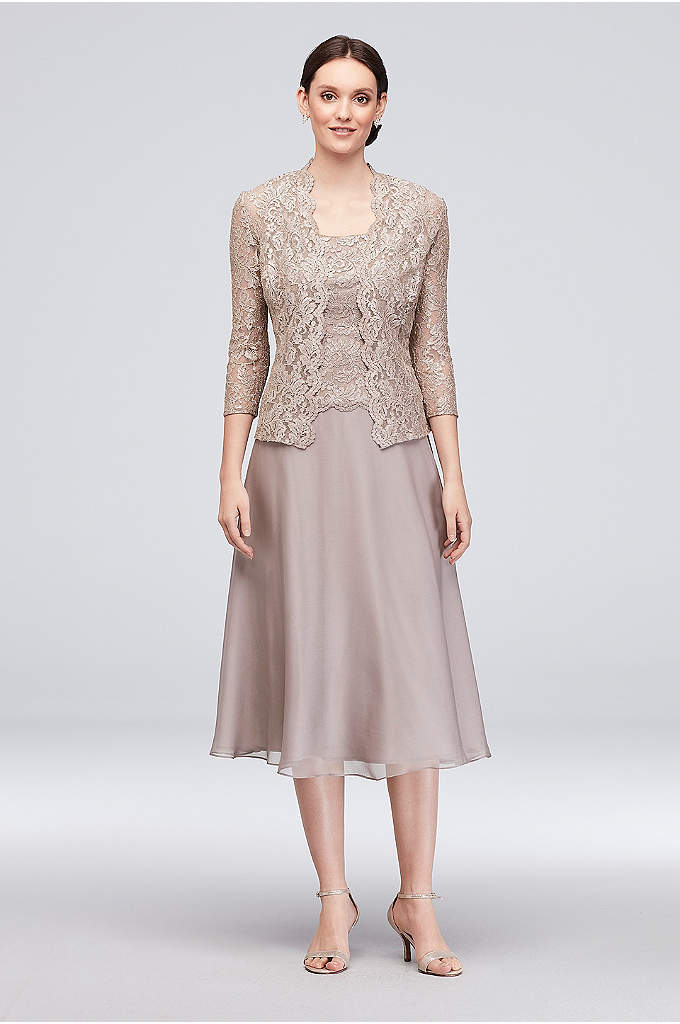 Floral Lace Tank Dress with 3/4 Sleeve Jacket - Dainty floral lace tops the bodice and matching