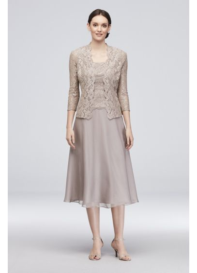 577fcd80a77 Floral Lace Tank Dress with 3 4 Sleeve Jacket. 11220731. Tea Length Grey  Soft   Flowy Alex Evenings Bridesmaid Dress