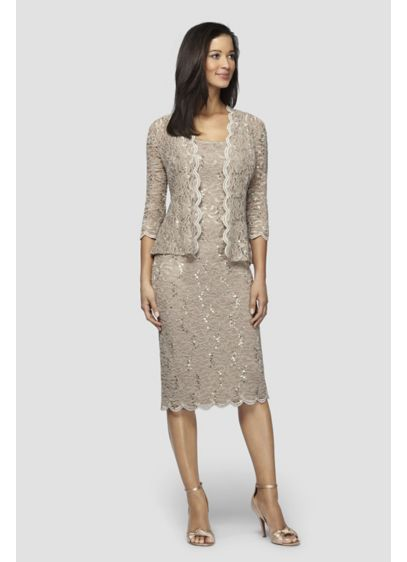 Sequin Lace Tea-Length Tank Dress and Jacket - This lovely tea-length tank dress is crafted of