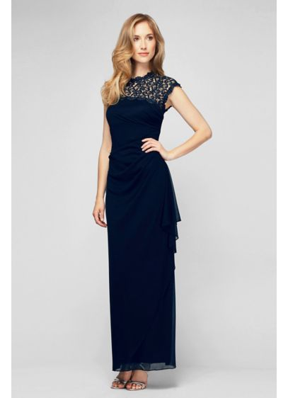 Long 0 Cap Sleeves Cocktail and Party Dress - Alex Evenings