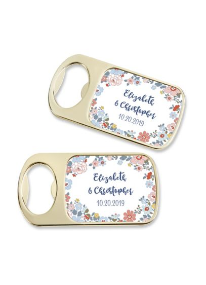 (Personalized Floral Pattern Gold Bottle Opener)