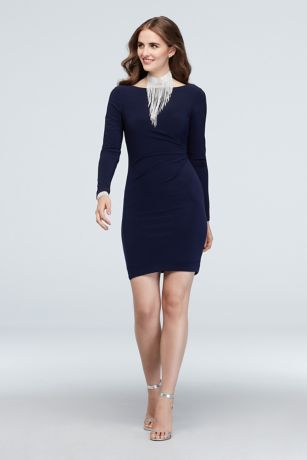 Short Sheath Long Sleeves Dress - Jump