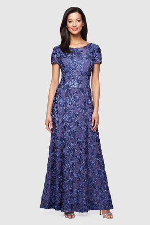 Long Ballgown Cap Sleeves Dress - Alex Evenings