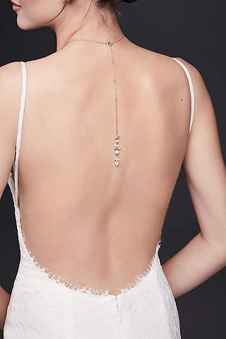 Collar Para Escote en Espalda de Perlas y Hojas de Cristal
