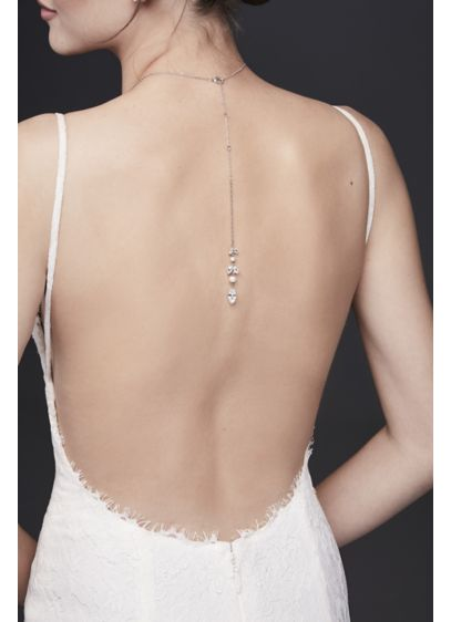 David's Bridal Grey (Pearl and Crystal Leaf Front-Back Necklace)