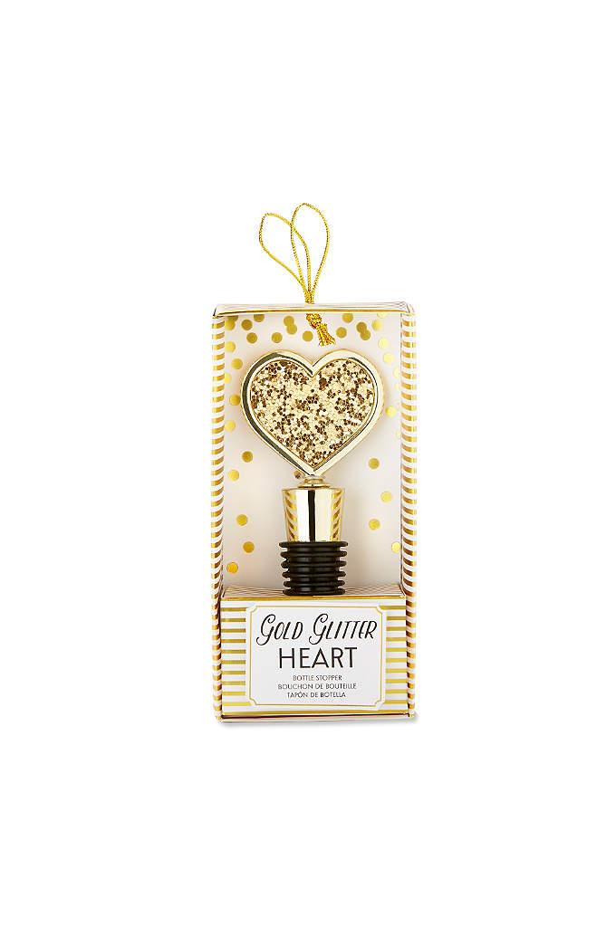 Gold Glitter Heart Bottle Stopper - The Gold Glitter Heart Bottle Stopper makes an
